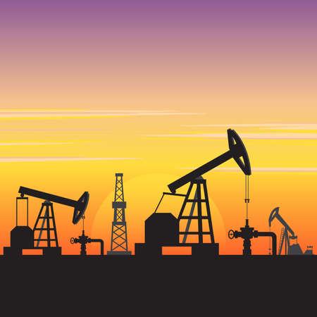 Oil Gas Fuel Energy Industry Landscape Vector