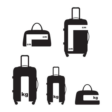 Travel luggage and baggage information allowance size and weight sign symbol vector and icon.