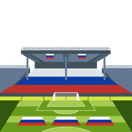 Football and Soccer Stadium with Russia Flag Vector