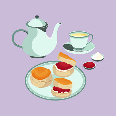 Scone with Tea Set Dessert English Cuisine Vector