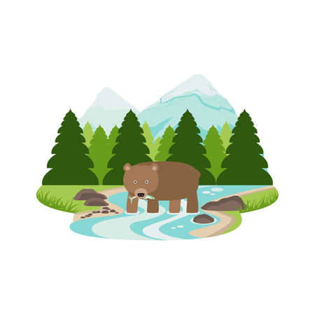 Grizzly Bear in the River Pine Forest and Mountain Landscape Vector