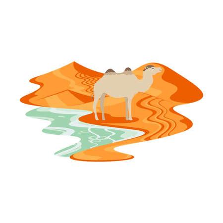 Camel in Desert Sand Dune Landscape Vector