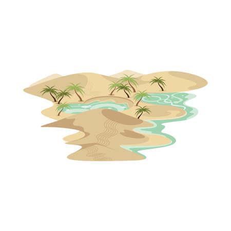 Desert Sand Dune and Oasis Landscape Vector
