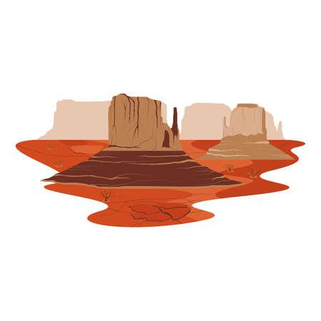 Monument Valley America Sand Stone Desert Landmark Landscape Vector Illustration