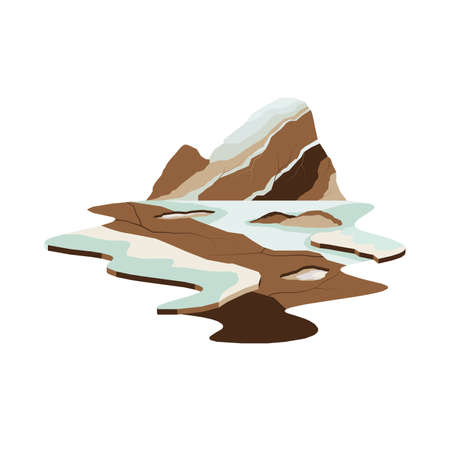 Stone Mountain Glacier Lake Landscape Vector Illustration
