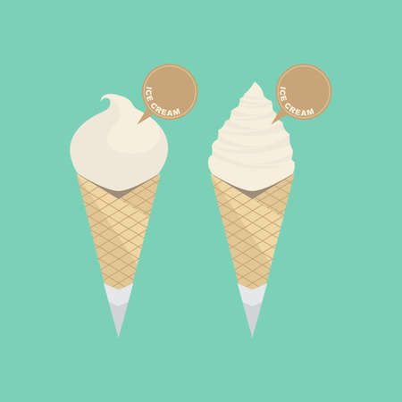 Soft Ice Cream with Waffle Cone Vector
