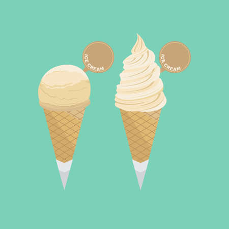 Soft Ice Cream with Waffle Cone Vector Set 2