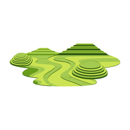 Rice Terrace Mountain and Hill Asia Landscape Vector Ilustração