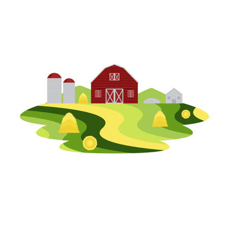 Farm Agriculture and Crop Landscape Vector  イラスト・ベクター素材