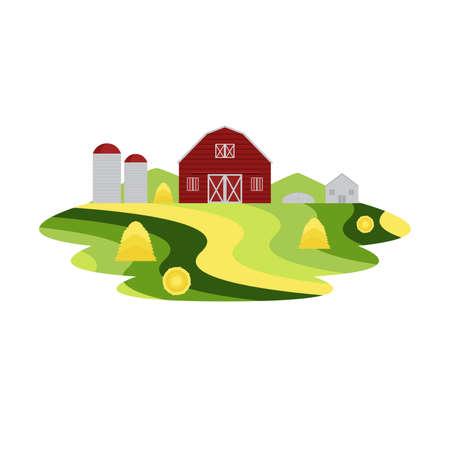 Farm Agriculture and Crop Landscape Vector Illusztráció
