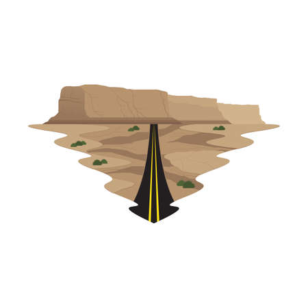 Highway Long Road Travel and Trip Landscape Vector