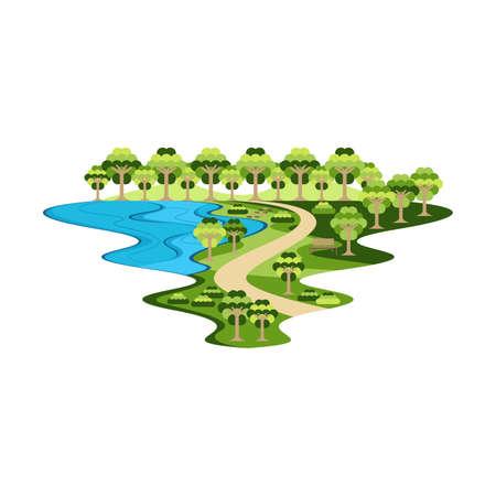 アクティビティランドスケープベクトルのための公園庭園と湖
