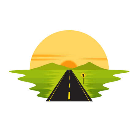Road Route on The Way Sunset and Sign Landscape Vector