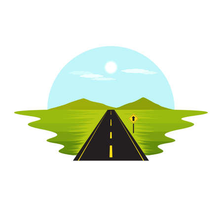 Road Route on The Way Day and Sign Landscape Vector