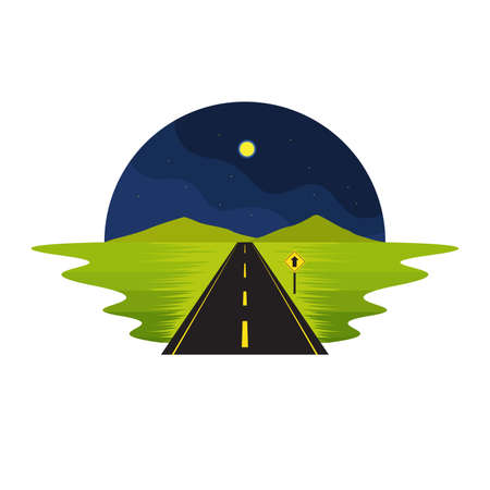 Road Route on The Way Night Scene and Sign Landscape Vector Illustration