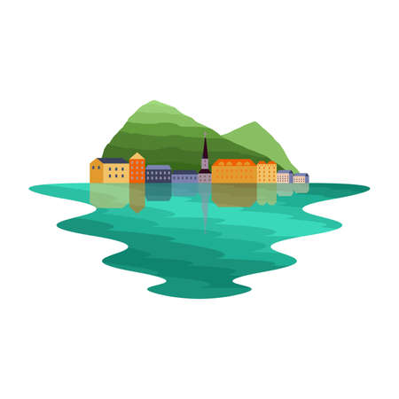 Europe Lakeside Village and Mountain Landscape Vector