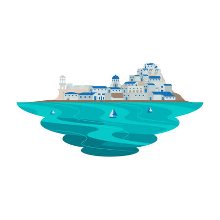 Santorini Greece Europe Destination Scene Landscape Vector