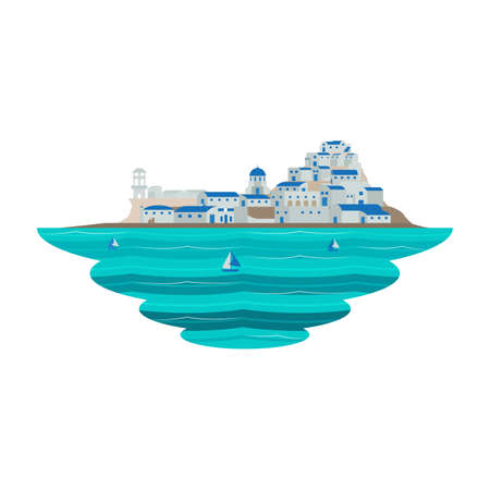 Santorini Greece Europe Destination Scene Sea Landscape Vector