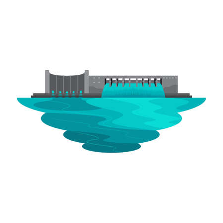 Dam Reservoir Water Lake for Power Energy Landscape Vector Illustration