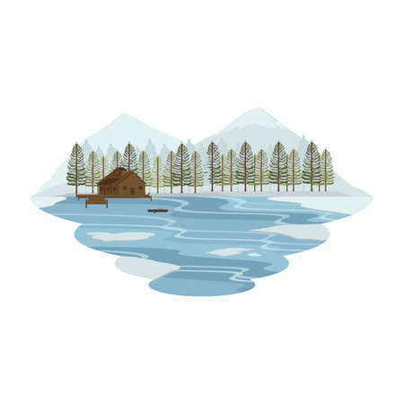 Cabin Hut Cottage on Lake and Camping Snow Mountain View Winter Landscape Vector