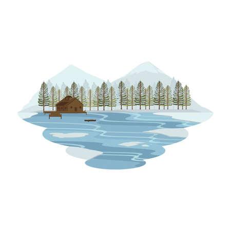 Chata Chata Chata nad jeziorem i Camping Snow Mountain View Winter Landscape Vector Ilustracje wektorowe