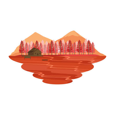 Cabin Hut Cottage on Lake and Camping Mountain View Autumn and Fall Landscape Vector