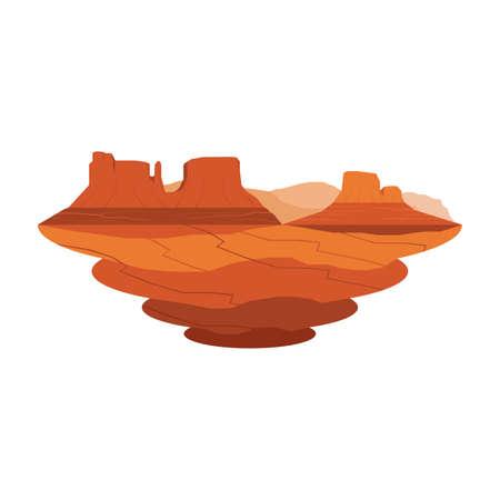 Monument Valley Arenisca Montaña Desierto Paisaje Vector Set 2 Ilustración de vector