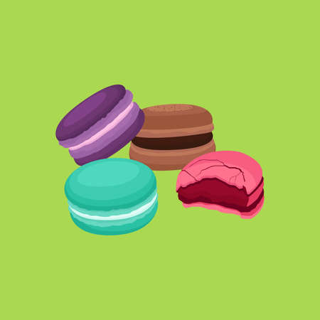 Macaron French Macaroon Sweet and Dessert Vector