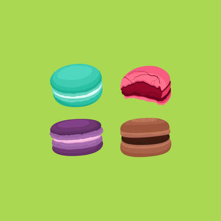 Set of Macaron French Macaroon Sweet and Dessert Vector