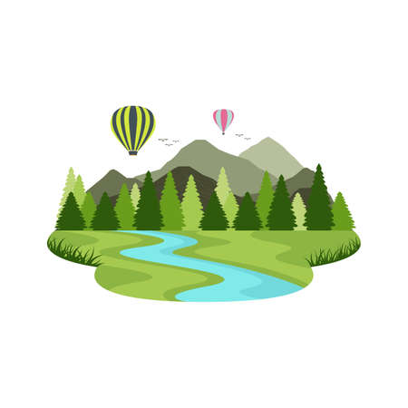Balloon air transport travel mountain river and lake landscape. Vector illustration. Иллюстрация