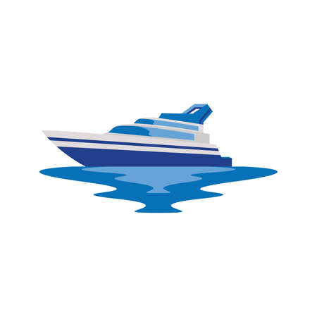 Yacht Boat Ship in the Sea Logo and Icon for App and Website