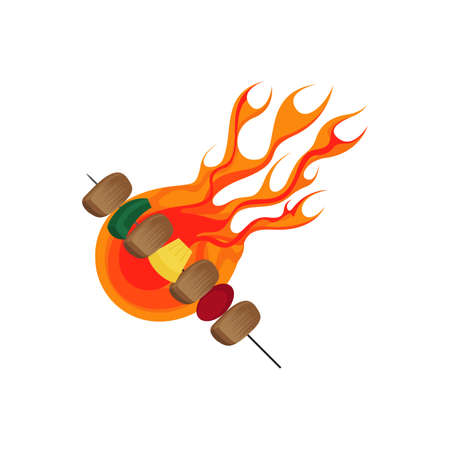 Barbecue and BBQ Grill with Flame Vector Illustration