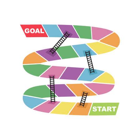 Inizio e obiettivo destinazione destinazione con scaletta scorciatoia serpente gioco da tavolo vettore