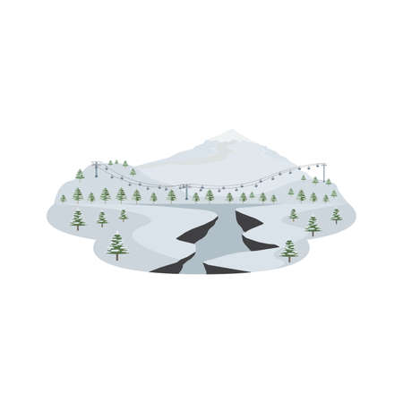 Ski Resort Pine Forest and Snow Mountain Landscape Vector