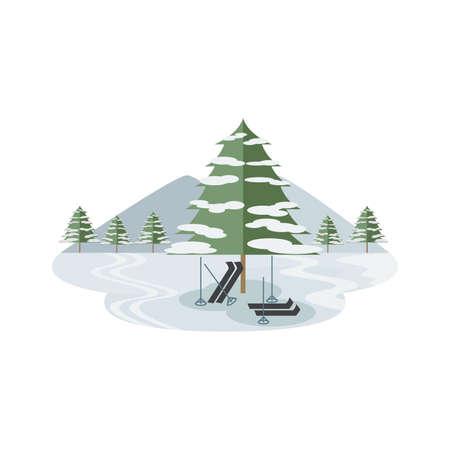 Ski Snow Winter Sport Landscape Vector