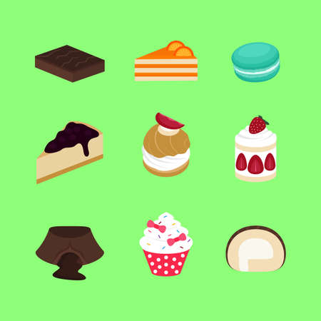 Set of Cake Bakery Sweet Dessert Vector and Icon For App and Website