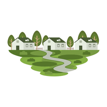 House Home Estate Residence in the Town Landscape Vector Иллюстрация