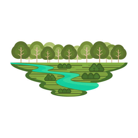 Forest and River Green Nature Environment Landscape Vector Иллюстрация