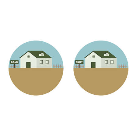 House Home Property Resident For Sale and Rent Vector and Icon