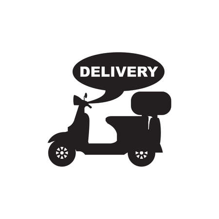 Motorbike and Motorcycle Fast Delivery Service Silhouette Vector and Icon