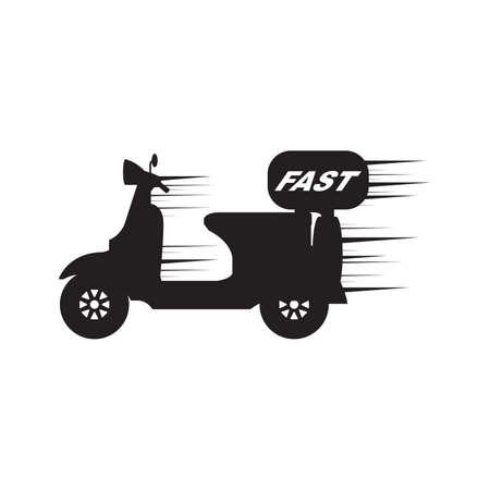 Motorbike and Motorcycle Fast Speed Delivery Service Silhouette Vector and Icon