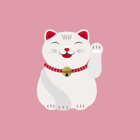 Japanese Cat Happy Face Lucky Charm Talisman Vector and Icon Иллюстрация