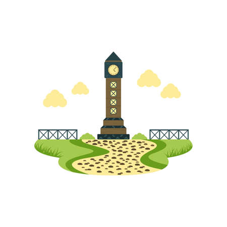 Clock Tower Landmark Building and Architecture Landscape Vector