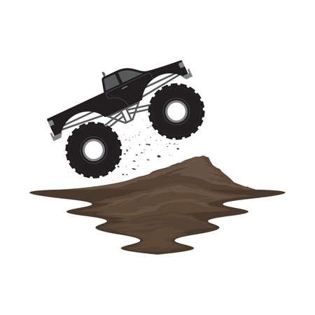 Monster Truck Off Road Jump on Ramp Dirt Track Landscape Vector Иллюстрация