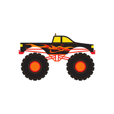 Monster Truck Off Road with Fire and Flame Vector Illustration