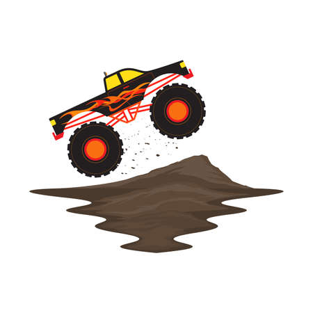 Monster Truck Off Road with Fire and Flame Jump on Dirt Track Vector