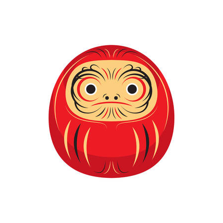 Daruma Lucky Japanese Doll Asia Traditional Culture Vector and Icon Иллюстрация