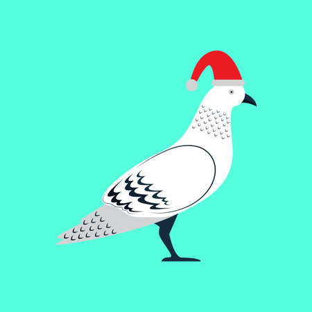 Merry Christmas Pigeon Bird Vector and Icon