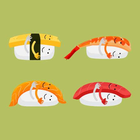 Set of Japanese Sushi Cartoon Hug Funny Vector