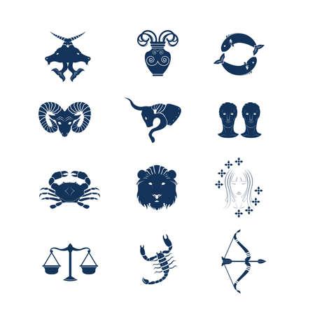 Set of Twelve Zodiac Horoscope Vector and Icon
